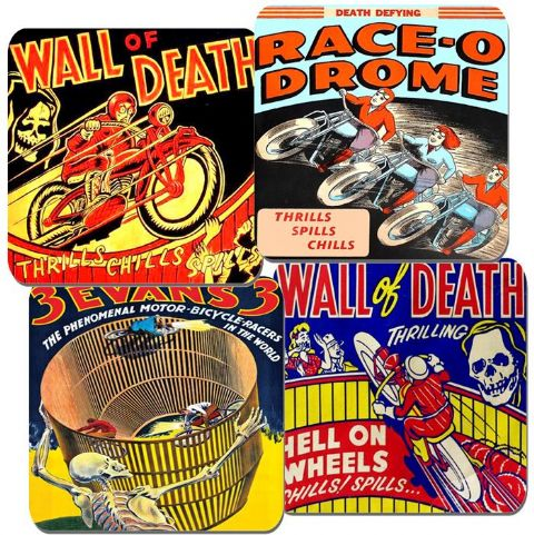 Wall Of Death Vintage Poster Coasters Set Of 4. Motorbike Classic Motorcycle